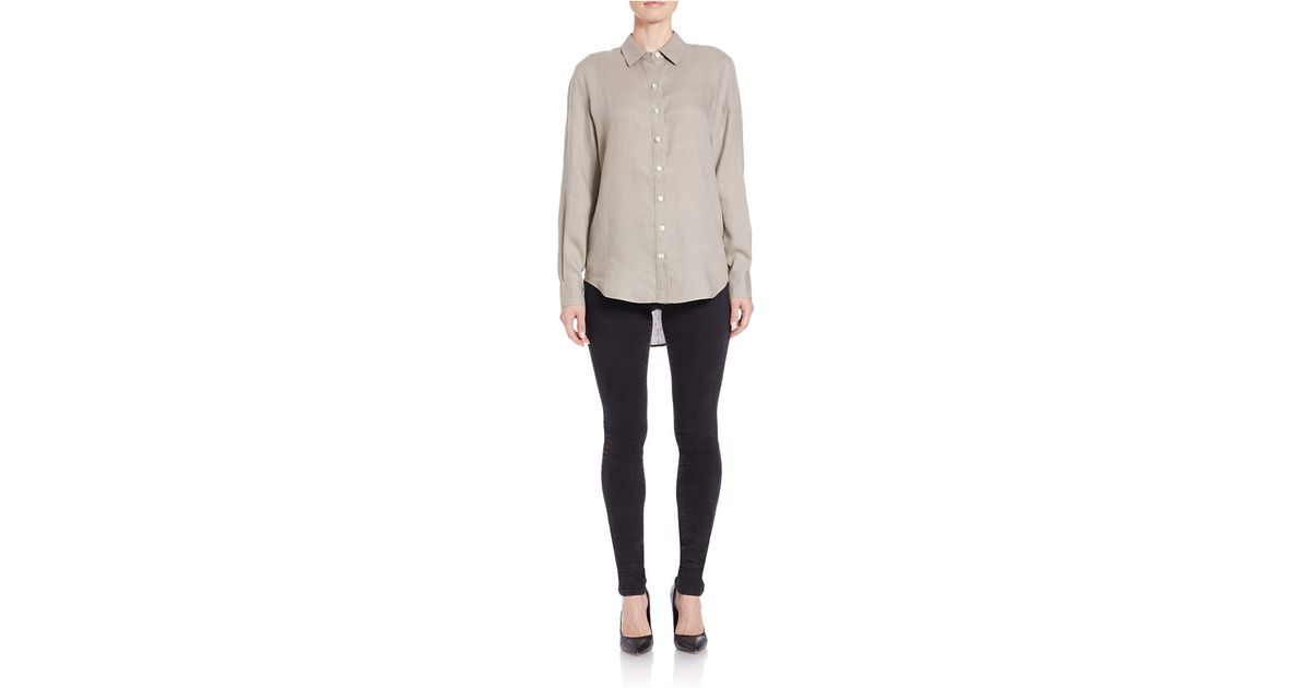 Lord Taylor Linen Hi Low Casual Shirt In Blue Lyst
