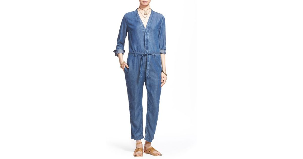 22d63dcf490 Lyst - Free People  lou  Denim Jumpsuit in Blue
