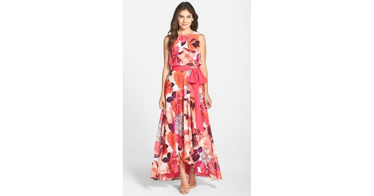 97236897f36 Eliza J Floral Print Chiffon Maxi Dress in Red - Lyst