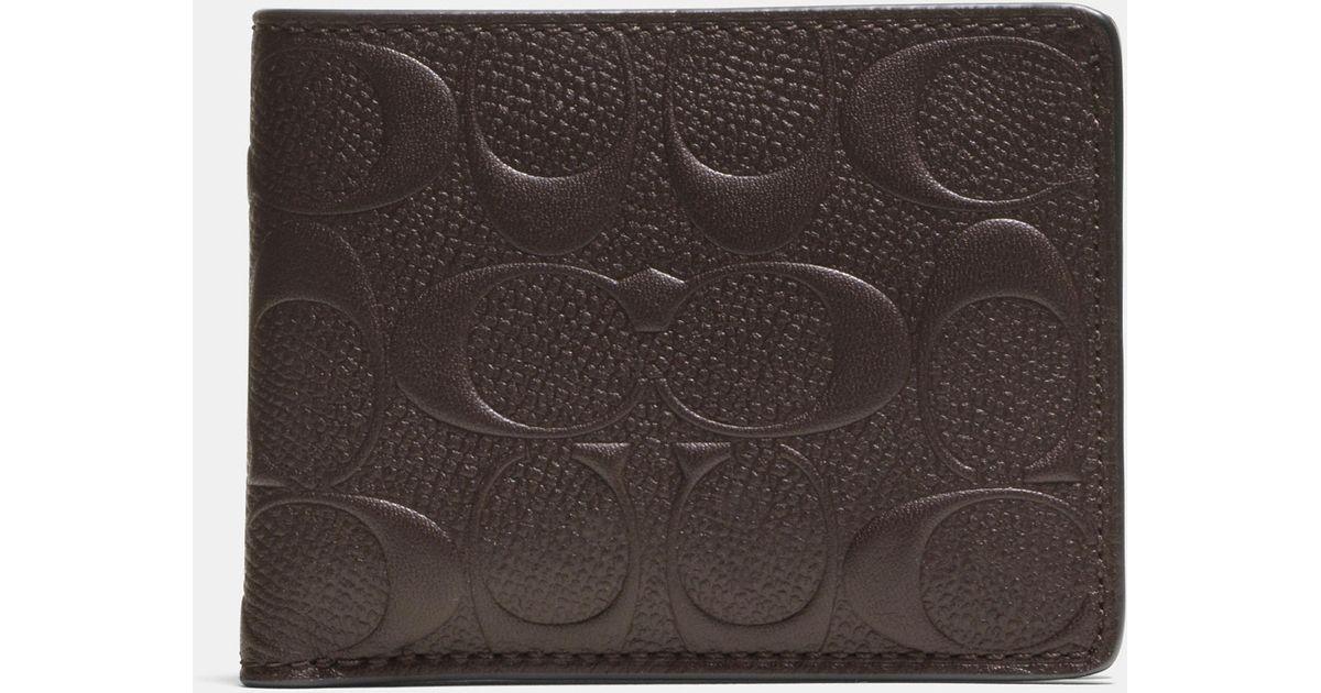 e85835034ef2 Lyst - COACH Slim Billfold Wallet In Signature Crossgrain Leather in Brown  for Men