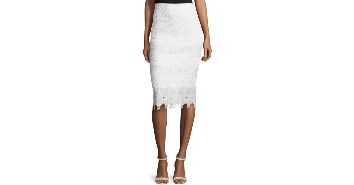 textured lace trim pencil skirt in white lyst