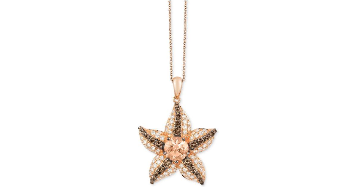 Rose Gold Morganite And Diamond Pendant Necklace