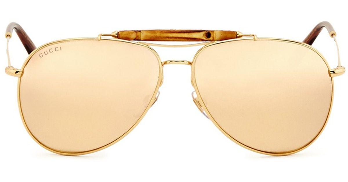 c3b32384e572 Lyst - Gucci Bamboo Gold Plated Aviator Sunglasses in Metallic for Men