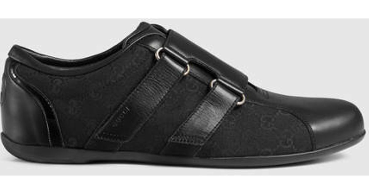 77acfdf00 Gucci Leather Velcro Shoe in Black for Men - Lyst