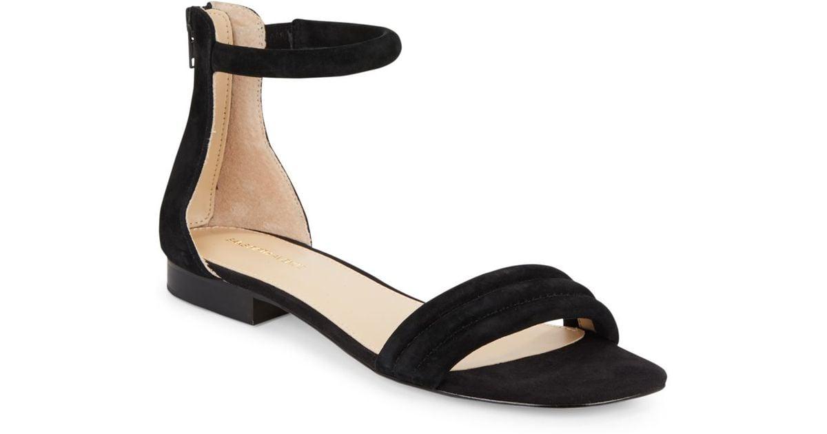 Lyst - Saks Fifth Avenue Celine Suede Ankle Strap Sandals in Black