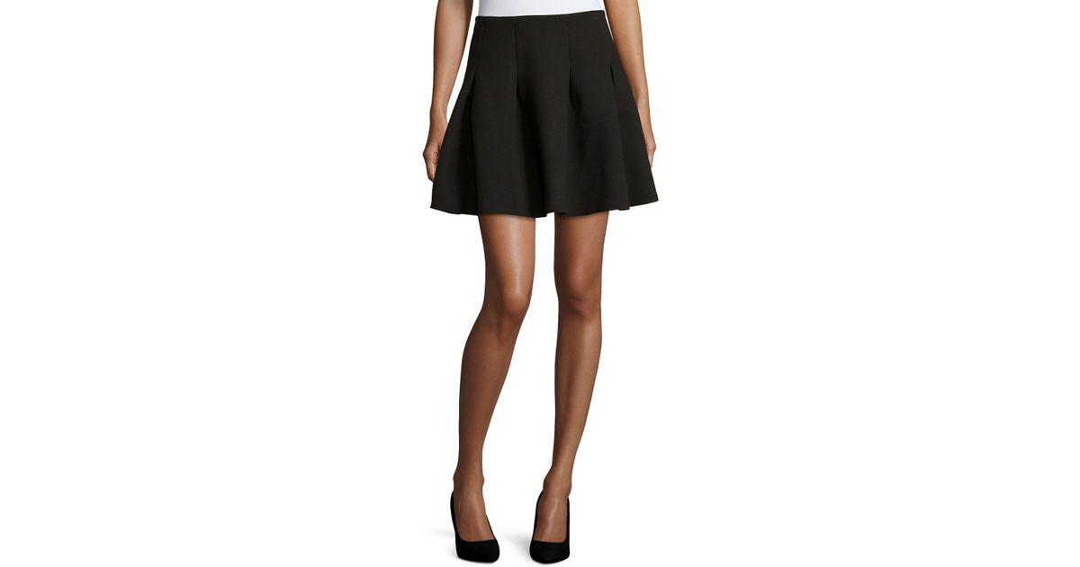 dex pleated neoprene a line skirt in black lyst