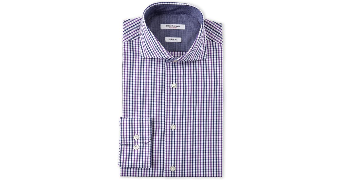 Jared Lang Men/'s Wine Purple Burgundy Pattern Trim Fit Button Front Shirt