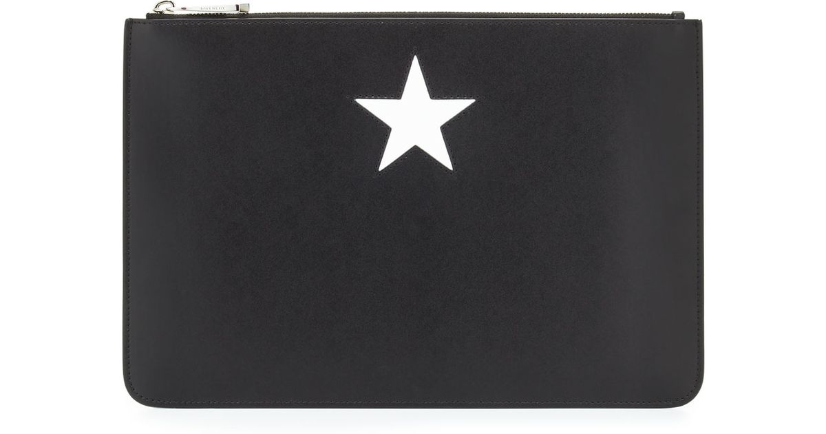 Lyst - Givenchy Iconic Smooth Leather Star Clutch Bag in Black c6912491e77e5
