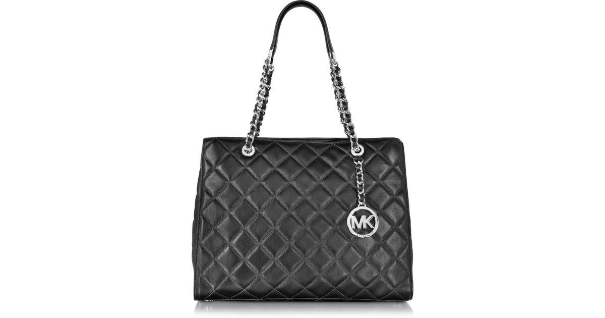 14562c115750 Lyst - Michael Kors Susannah Large Black Quilted Leather Tote Bag in Black