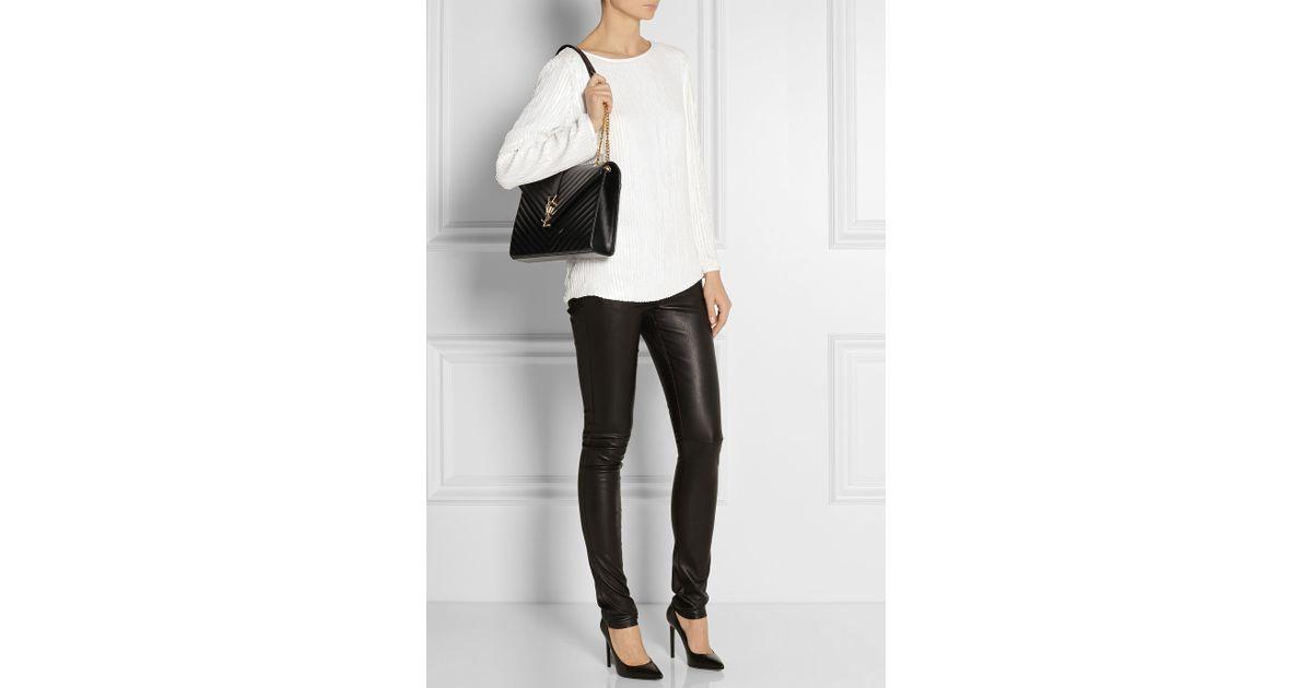 e8f9c25b8017 Lyst - Saint Laurent Women s Monogram Medium Shoulder Bag in Black