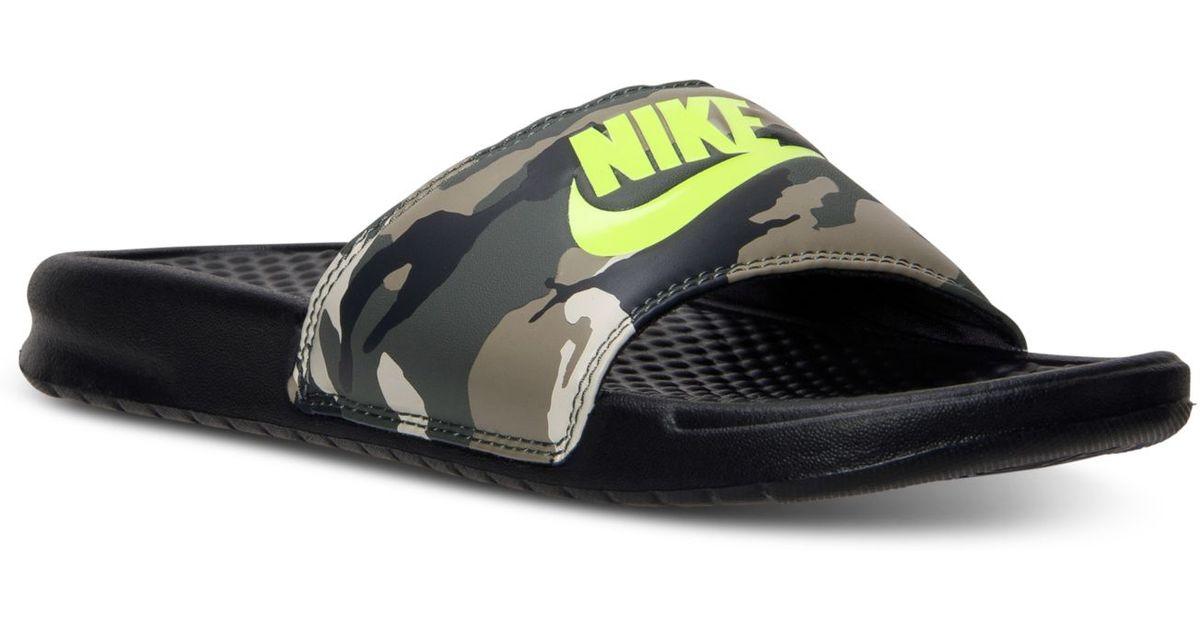 d9187368ab41 Lyst - Nike Men S Benassi Jdi Print Slide Sandals From Finish Line in Brown for  Men