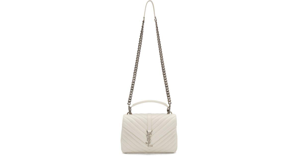 f30b95d0cc06 Saint Laurent Off-white Medium College Shoulder Bag in White - Lyst