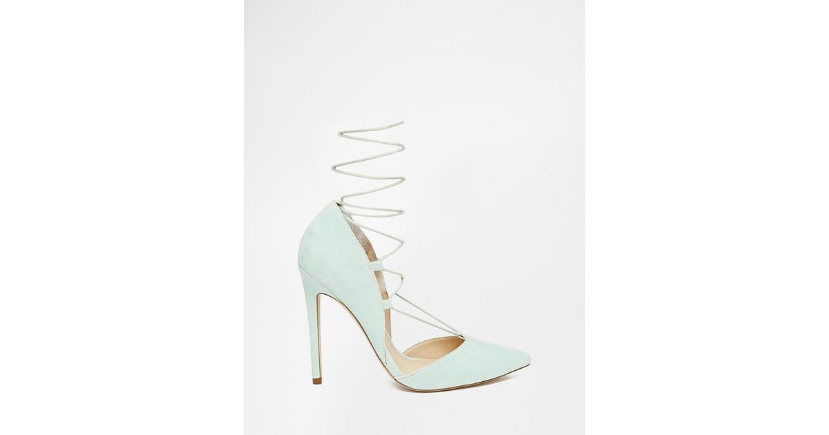 a045083cacc Asos Pilot Lace Up Pointed High Heels in Green - Lyst