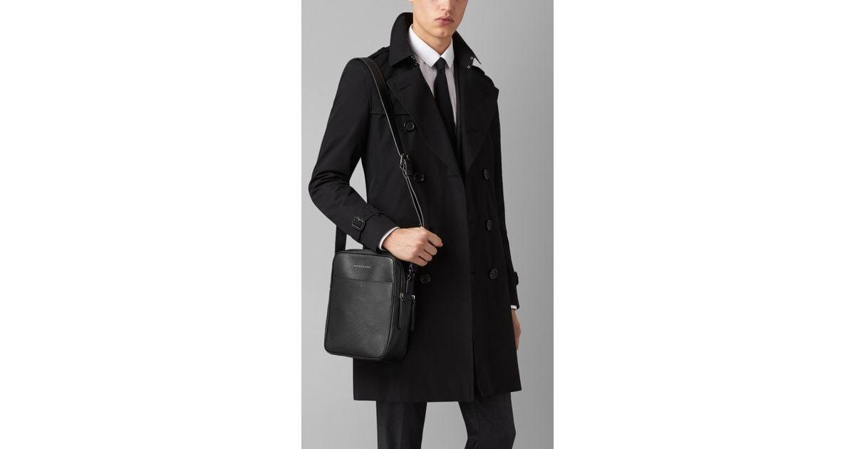 c4cc14fde800 Lyst - Burberry London Leather Crossbody Bag in Black for Men