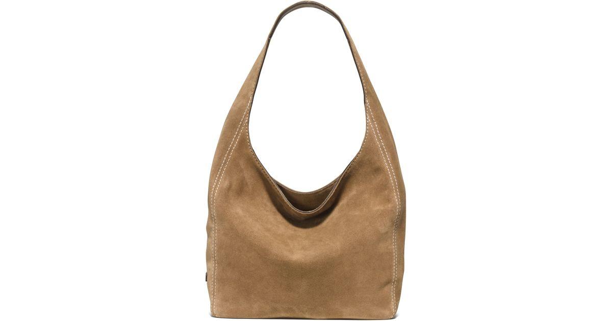 Michael kors Lena Large Suede Shoulder Bag in Brown | Lyst