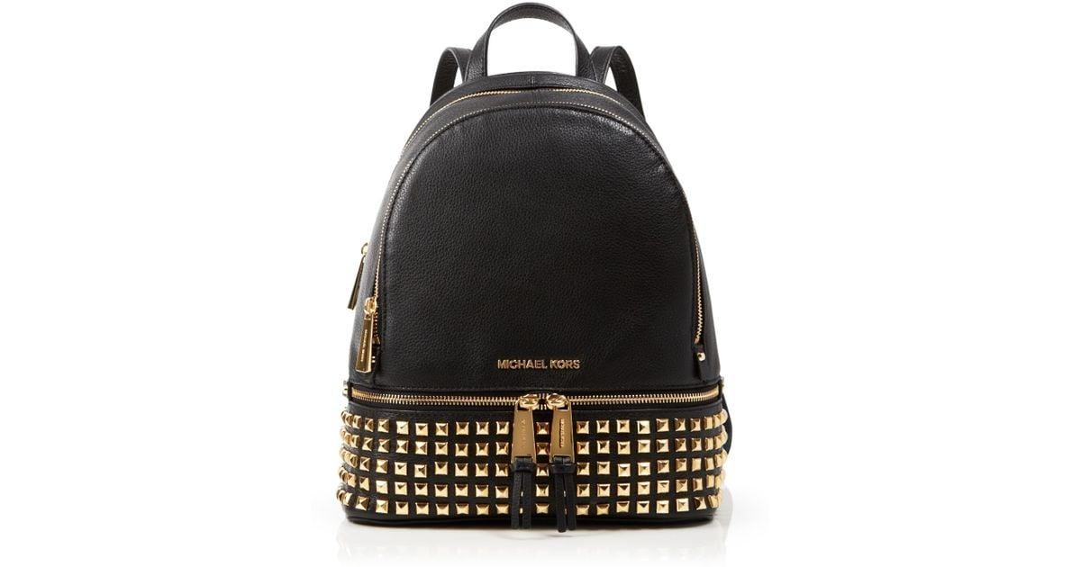 36d582c25b Lyst - MICHAEL Michael Kors Small Rhea Zip Studded Backpack in Metallic
