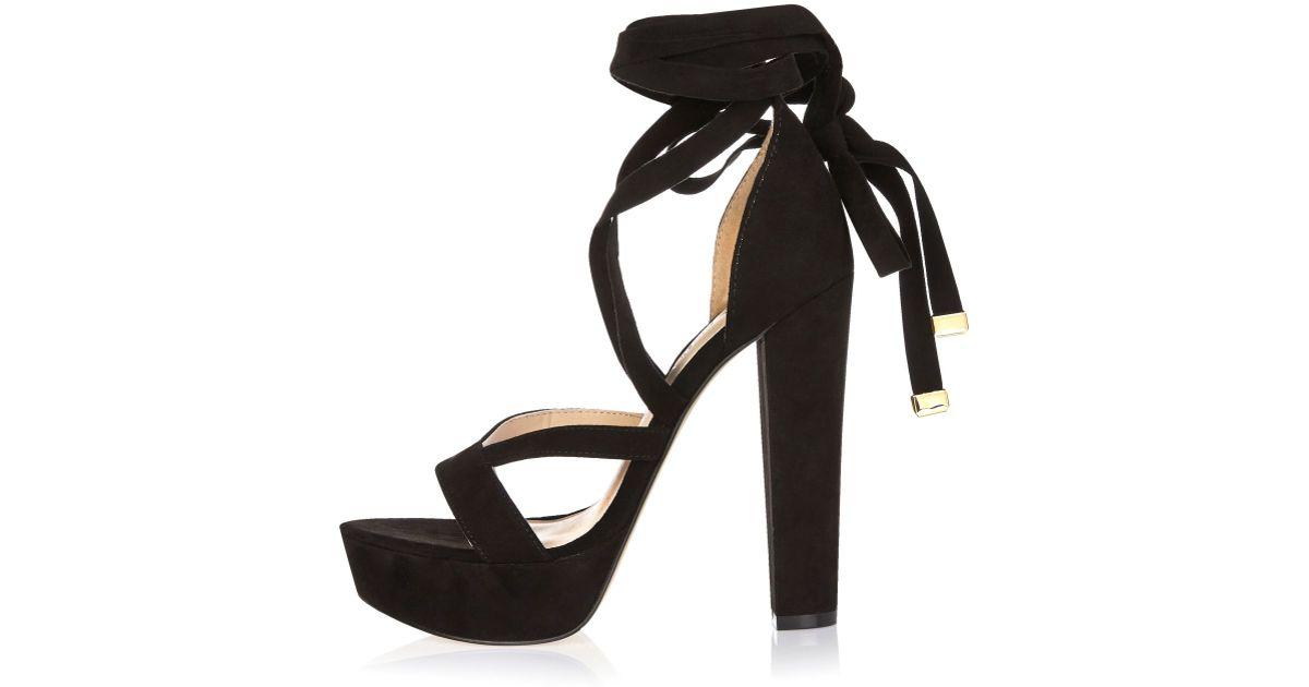 River island Black Lace-up Platform Heels in Black | Lyst