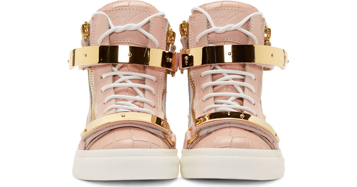 Lyst - Giuseppe Zanotti Ssense Exclusive Pink Croc Embossed Leather Ringo  Sneakers in Pink b39532e6b8f4