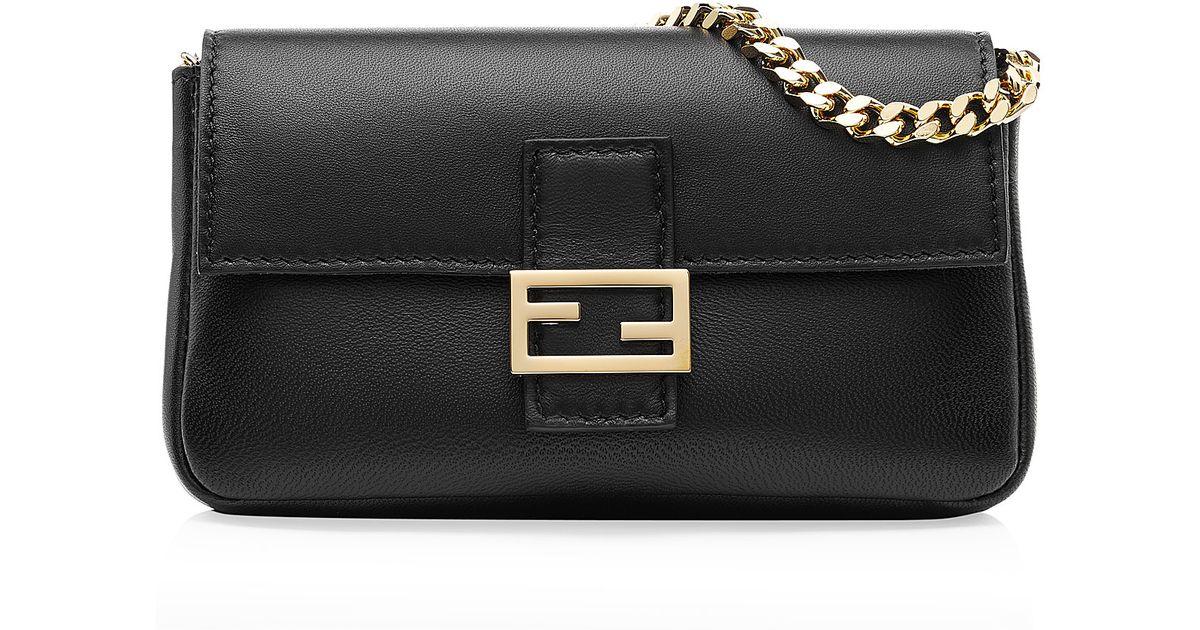 8b3bbd33655f Fendi Micro Baguette Leather Shoulder Bag - Black in Black - Lyst