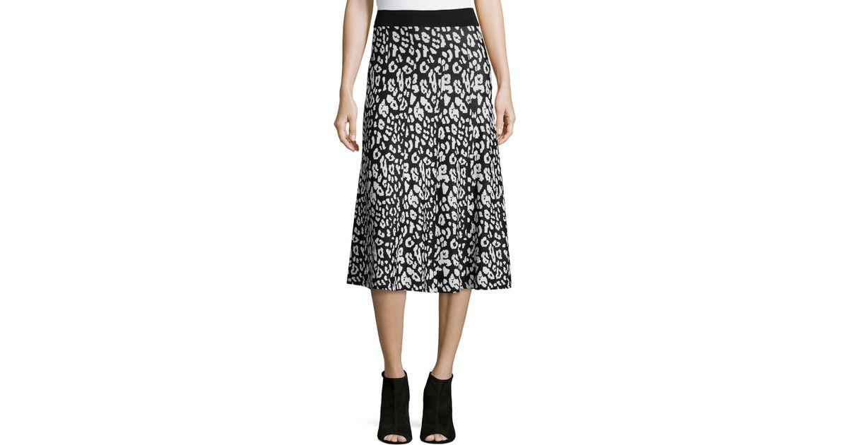 c943b813bcf1 Lyst - Carmen By Carmen Marc Valvo Birdseye Jacquard Midi Skirt in Black