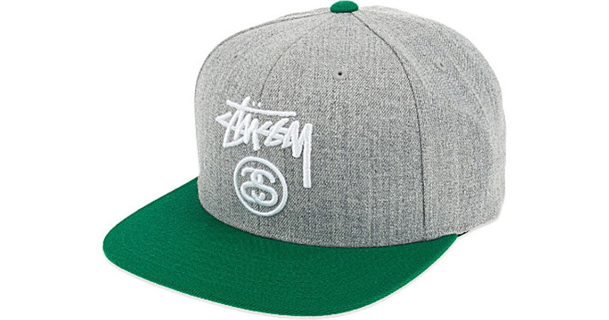 61d6185f2b9d97 Stussy Stock Logo Embroidered Snapback Cap in Green for Men - Lyst