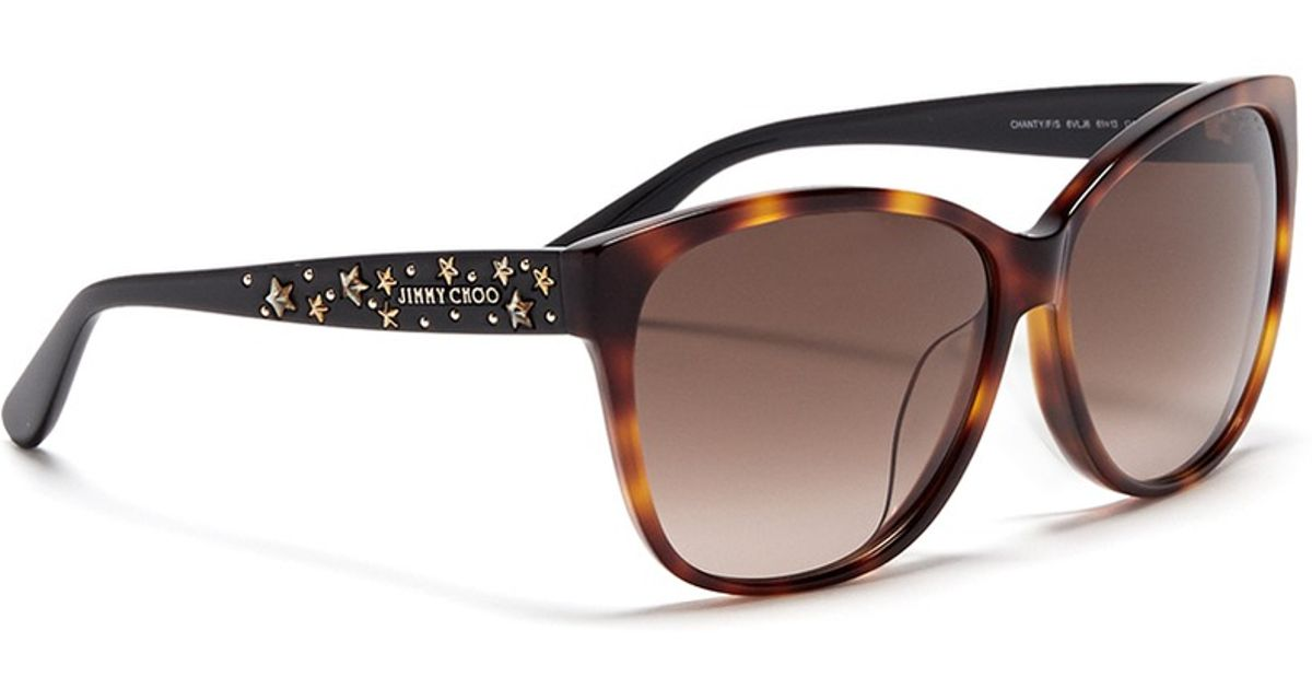 d1e4aa9d7f10 Lyst - Jimmy Choo  Chanty  Star Stud Tortoiseshell Plastic Sunglasses in  Brown