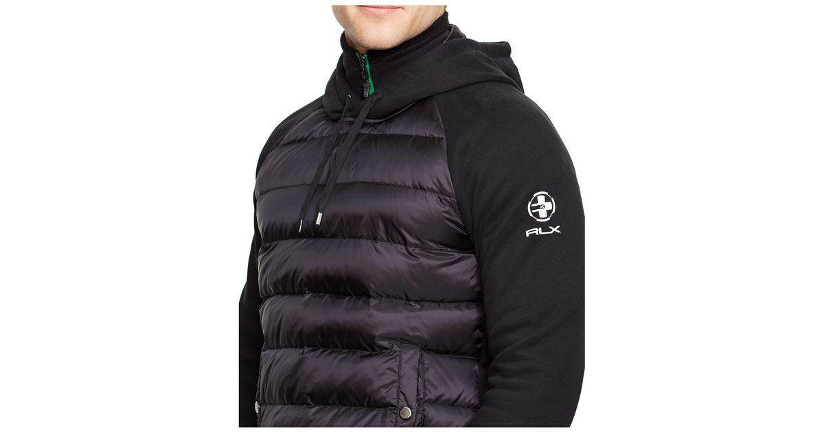 polo ralph lauren rlx quilted fleece hoodie in black for men lyst. Black Bedroom Furniture Sets. Home Design Ideas