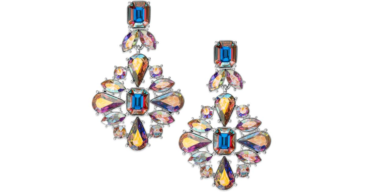 Lyst kate spade new york gold tone iridescent glass stone lyst kate spade new york gold tone iridescent glass stone chandelier earrings in metallic aloadofball Image collections