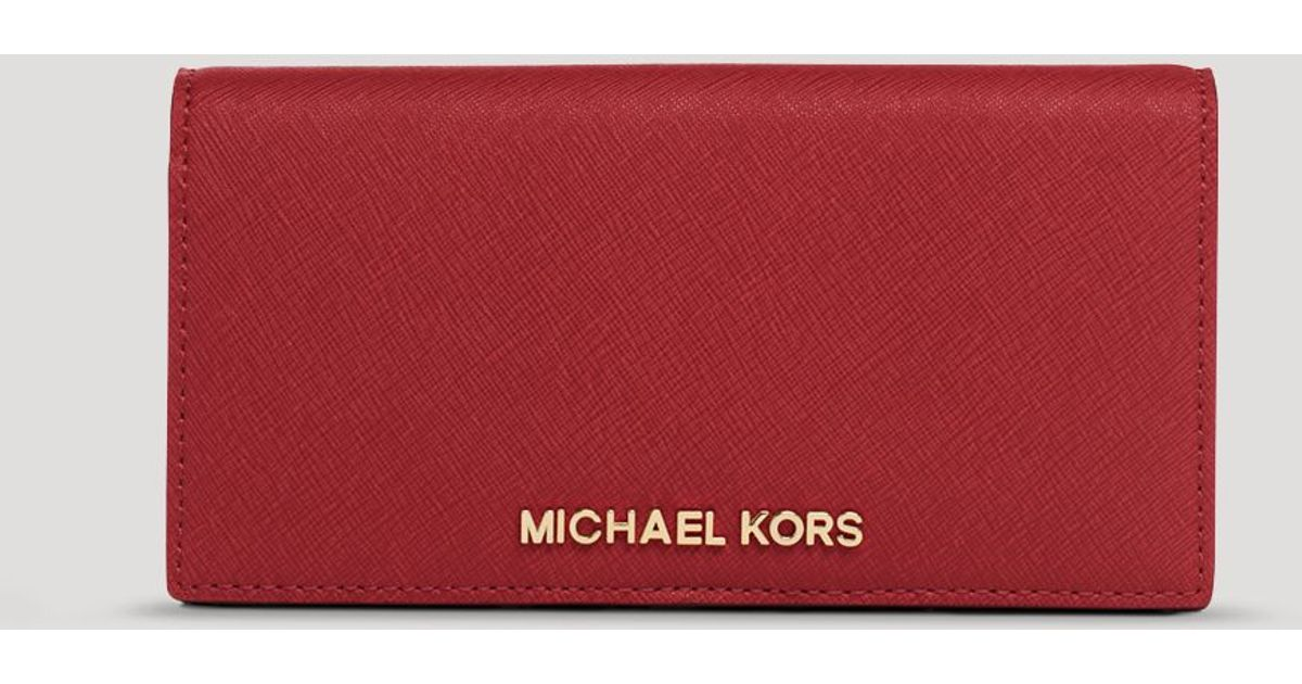 f9d25f6aa2b6 ... Michael michael kors Wallet - Large Slim Continental Snap in Red Lyst  ...