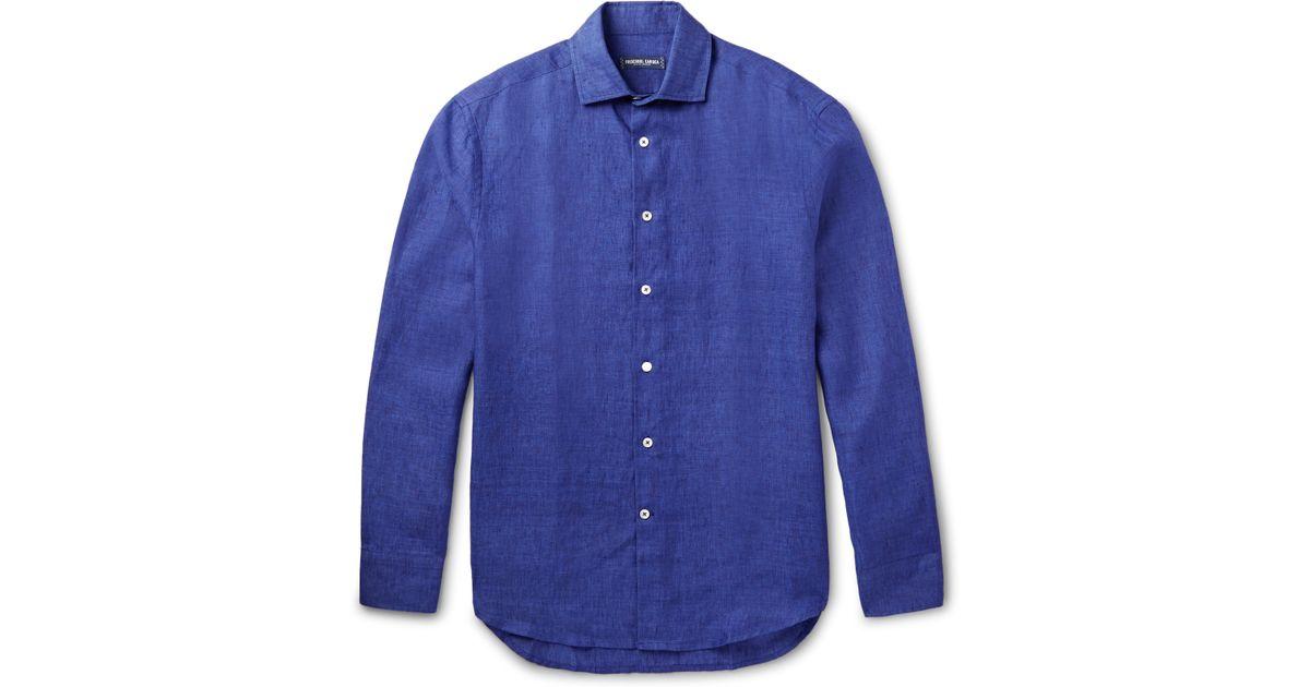 f788f89e Frescobol Carioca Linen Shirt in Blue for Men - Lyst