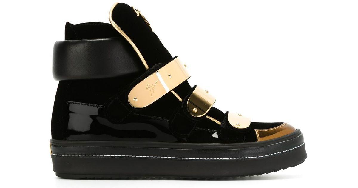 ab84c846f539b Giuseppe Zanotti Bar Buckle Strap Hi-top Sneakers in Black - Lyst