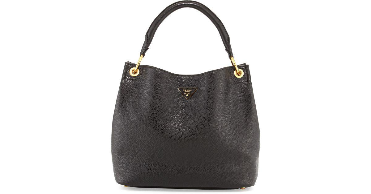 7bd06439a0 Lyst - Prada Vitello Daino Single-strap Hobo Bag in Black