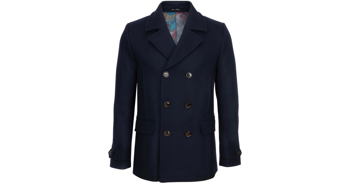 5092a5236635d Ted Baker T For Tall Mackrul Double Breasted Peacoat in Blue for Men - Lyst