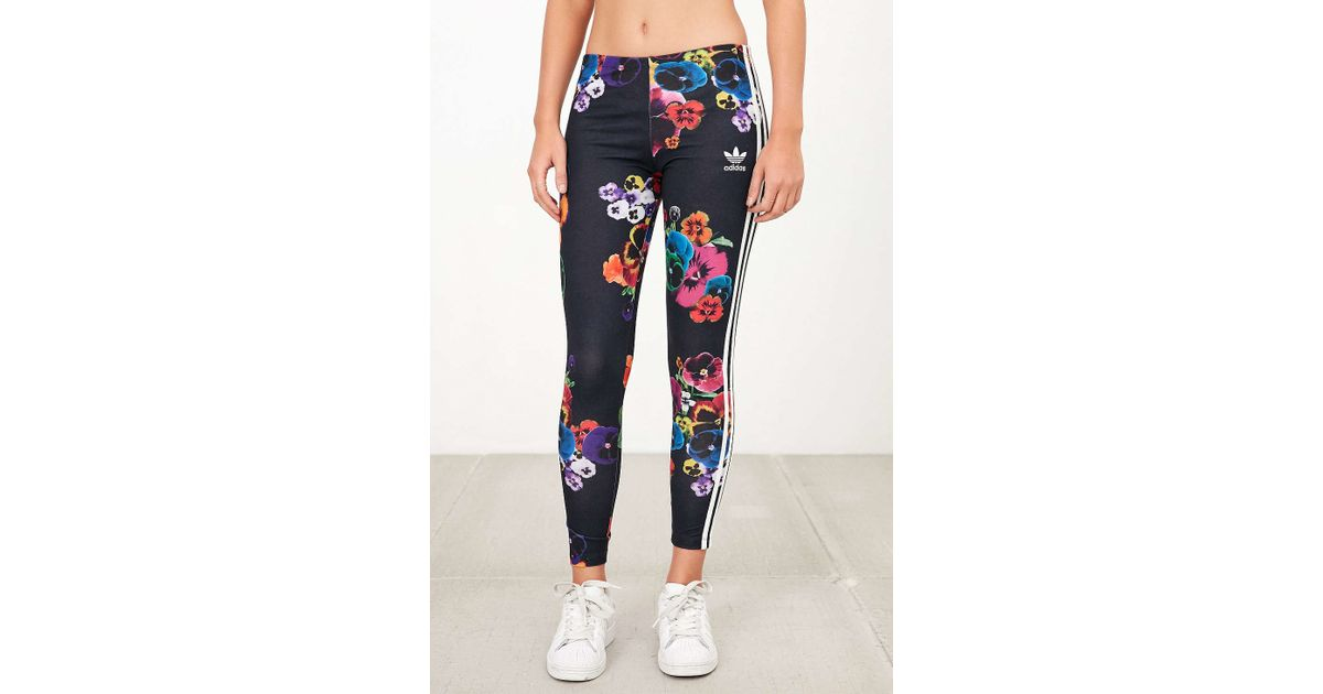 Adidas Black Floral Print Legging In Lyst Originals 1qx4wxH