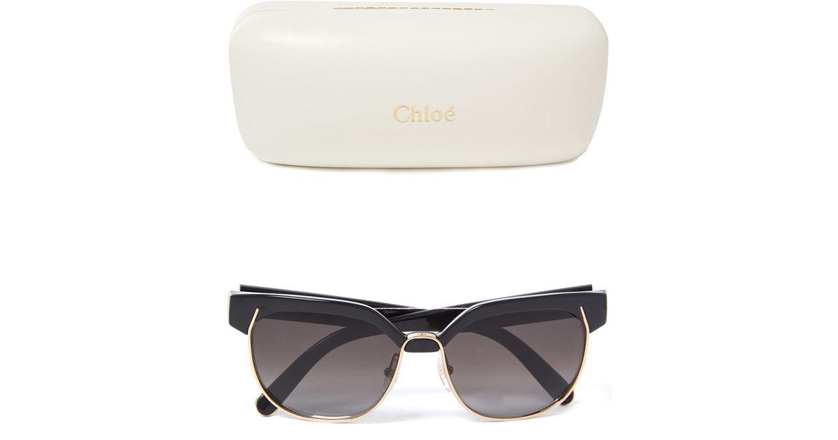 706d7df5416 Lyst - Chloé Black Dafne Half-frame Sunglasses in Black