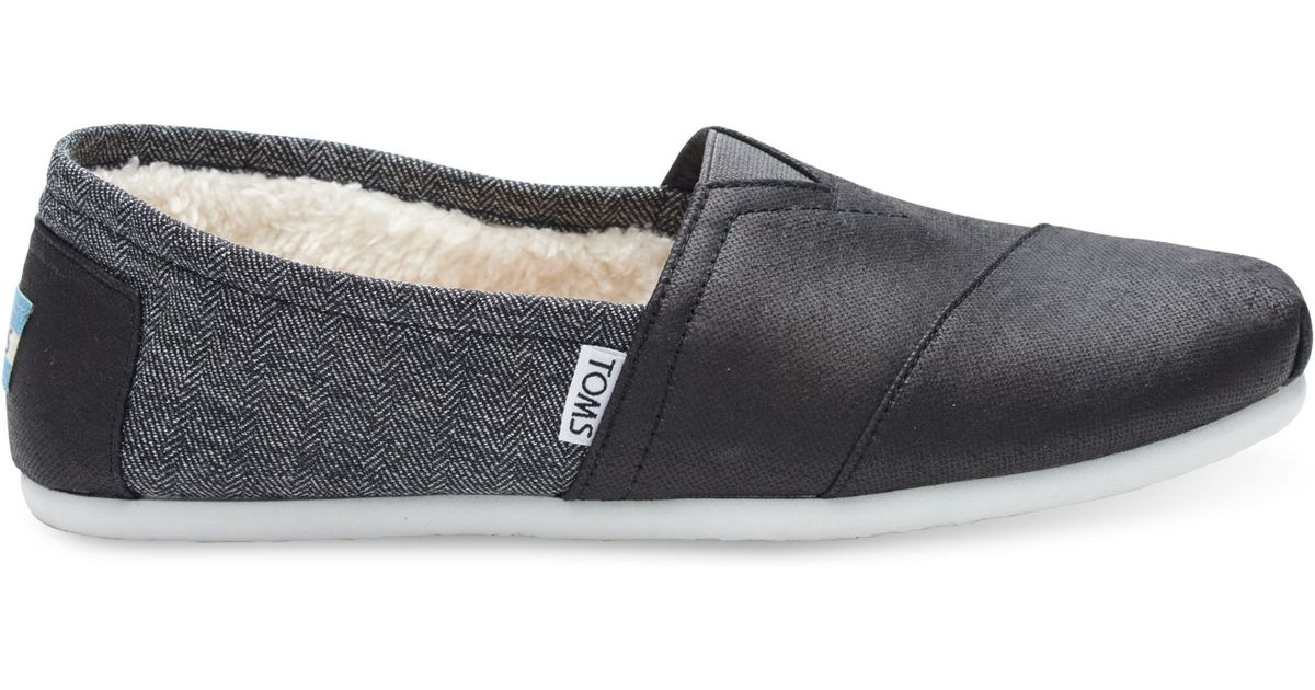 e6dd91e29dd Lyst - TOMS Black Coated Canvas Shearling Men s Classics in Black for Men