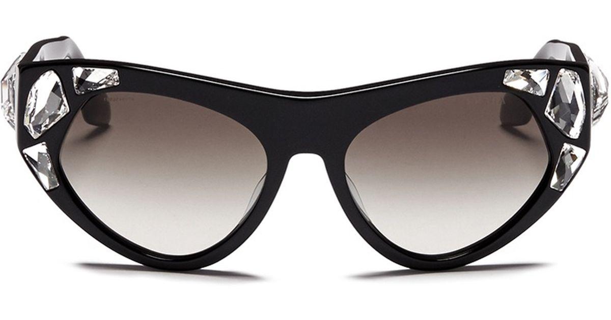 b332fa9928d4 ... greece prada voice crystal cat eye acetate sunglasses in black lyst  59135 39e44 ...