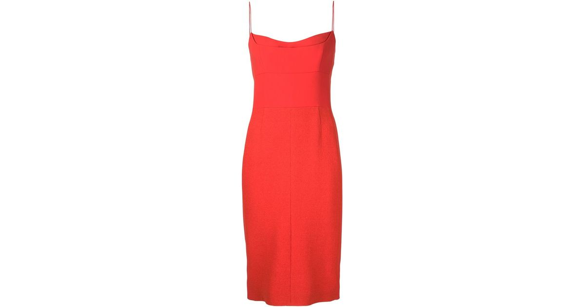 36572a93f3 Narciso Rodriguez Spaghetti Strap Dress in Red - Lyst