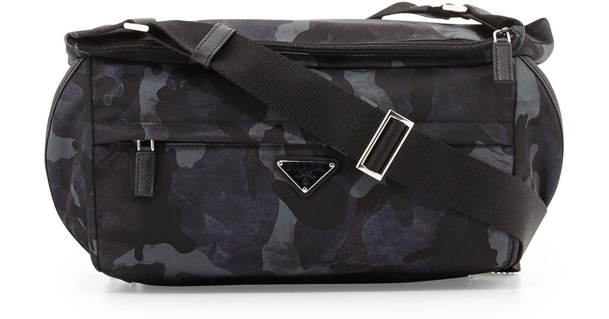 31a2a94889083b ... new zealand lyst prada camo nylon medium messenger bag in black for men  f2966 c0bf6 ...