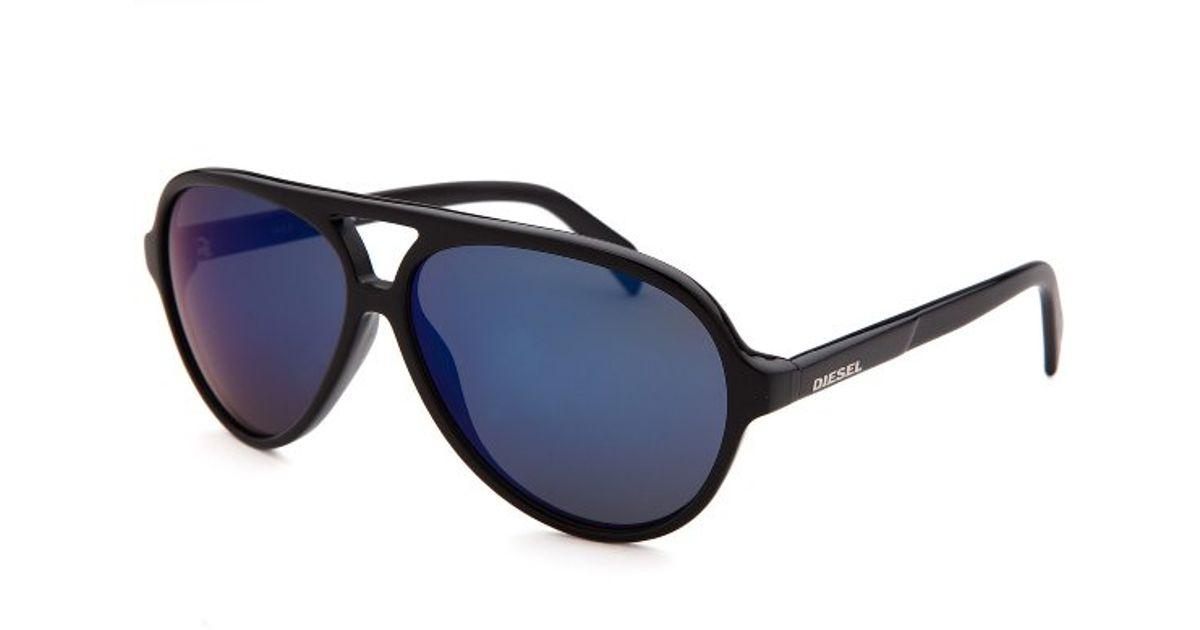 773fe40eca8 Diesel Men s Aviator Black Sunglasses Blue Mirrored Lenses in Black for Men  - Lyst