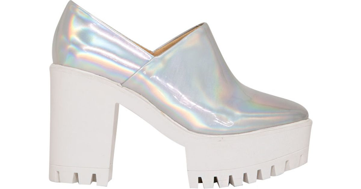 pixie market holographic platform shoes in silver lyst
