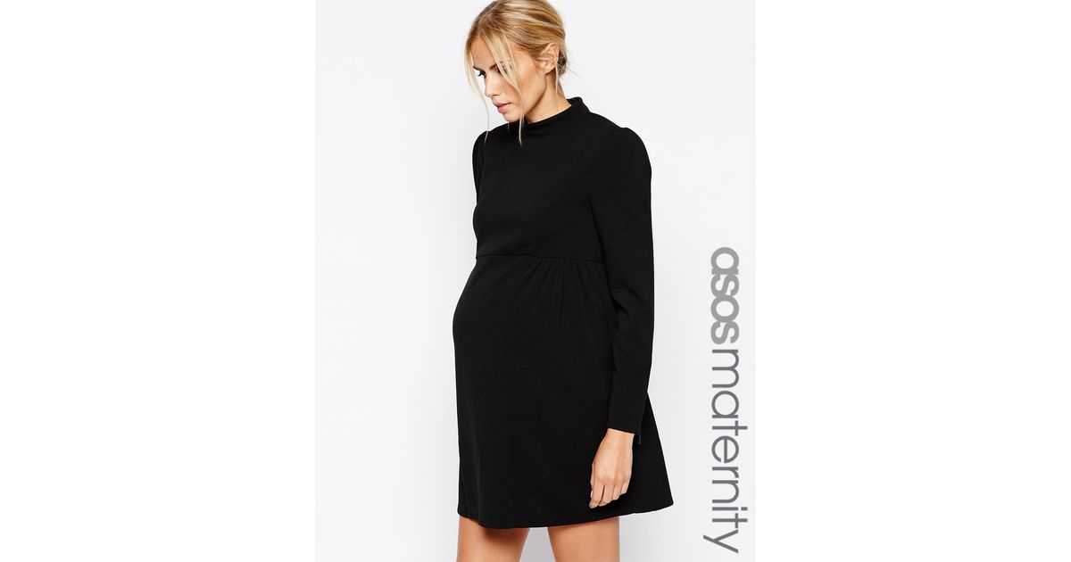 9605787a90421 ASOS Maternity Funnel Neck Swing Dress With Zip Cuffs in Black - Lyst