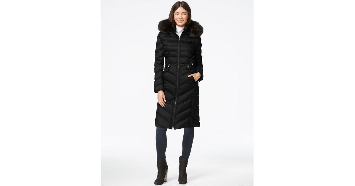 b7dead562f Laundry by Shelli Segal Faux-fur-hood Long Down Puffer Coat in Black - Lyst
