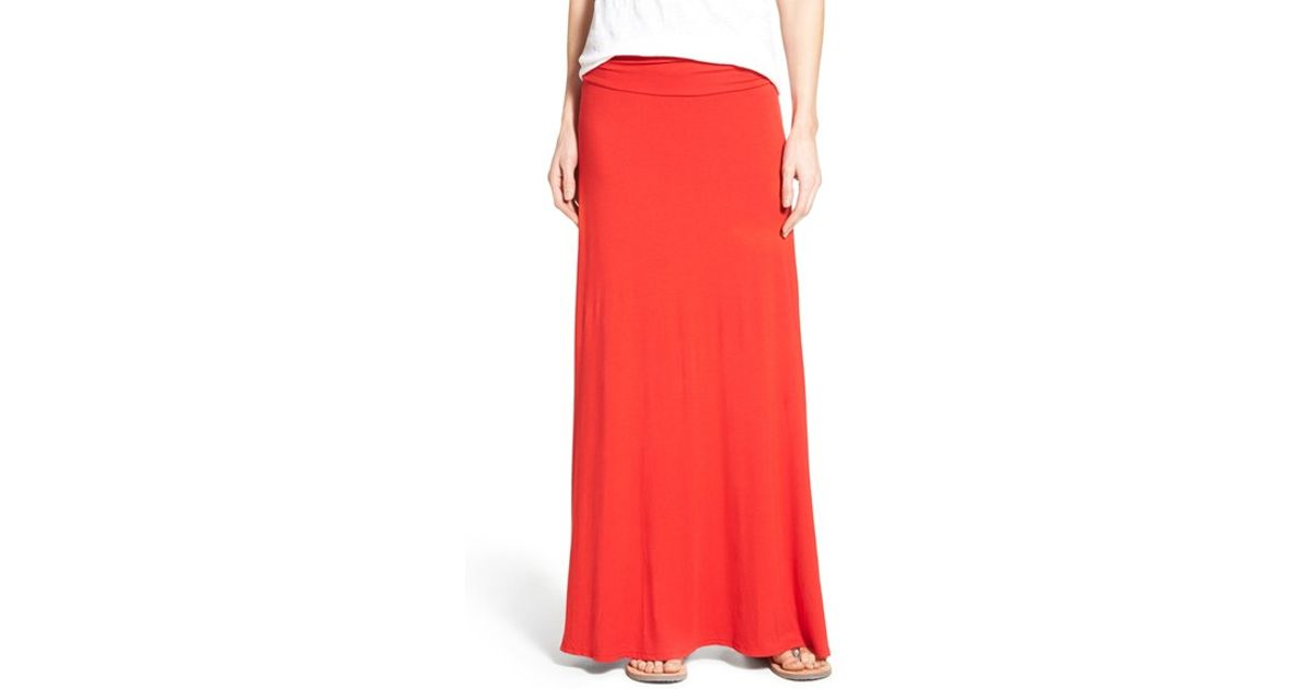 Bobeau Ruched Waist Side Slit Maxi Skirt In Red Lyst