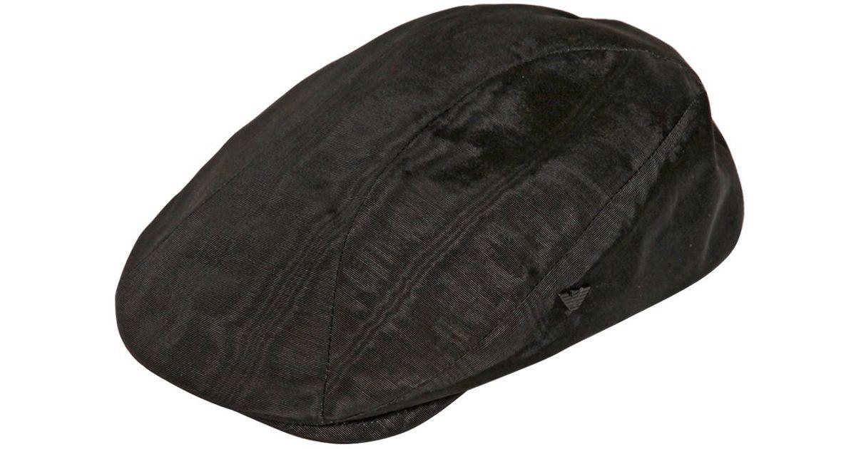 8227276a3ae Lyst - Emporio Armani Viscose Moire  Flat Cap in Black for Men