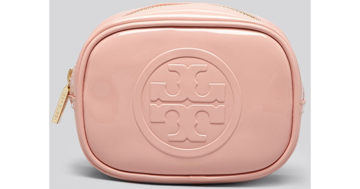 f23d3203780 Lyst - Tory Burch Cosmetic Case Embossed Patent Small Classic in Pink