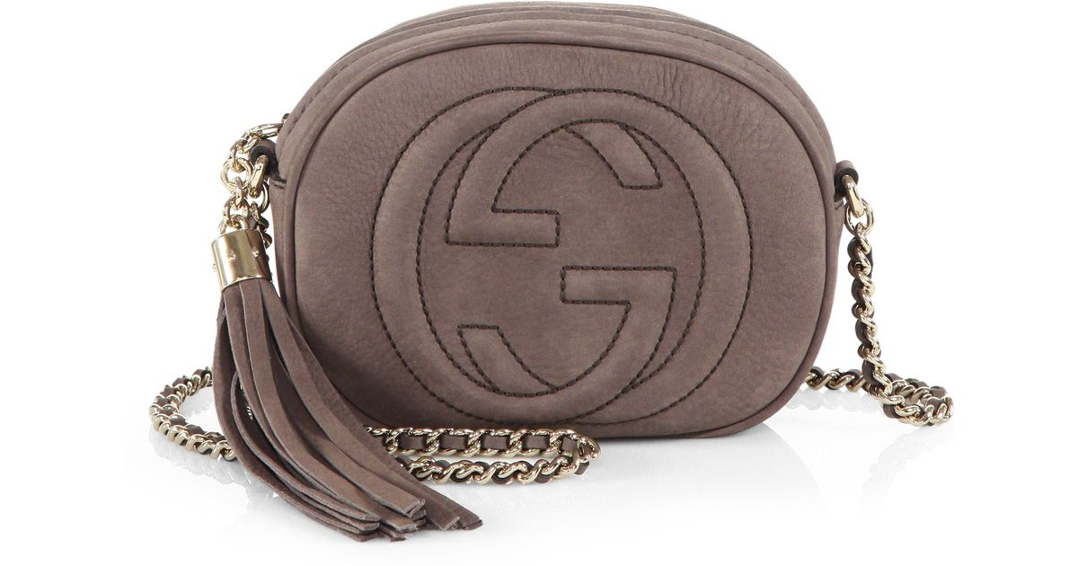 e562b59d772 Gucci Soho Nubuck Leather Mini Chain Bag in Gray - Lyst