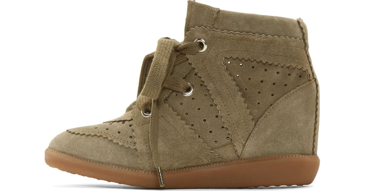 Super Isabel marant Olive Suede Bobby Stainer Basket Sneakers in Green  YP39