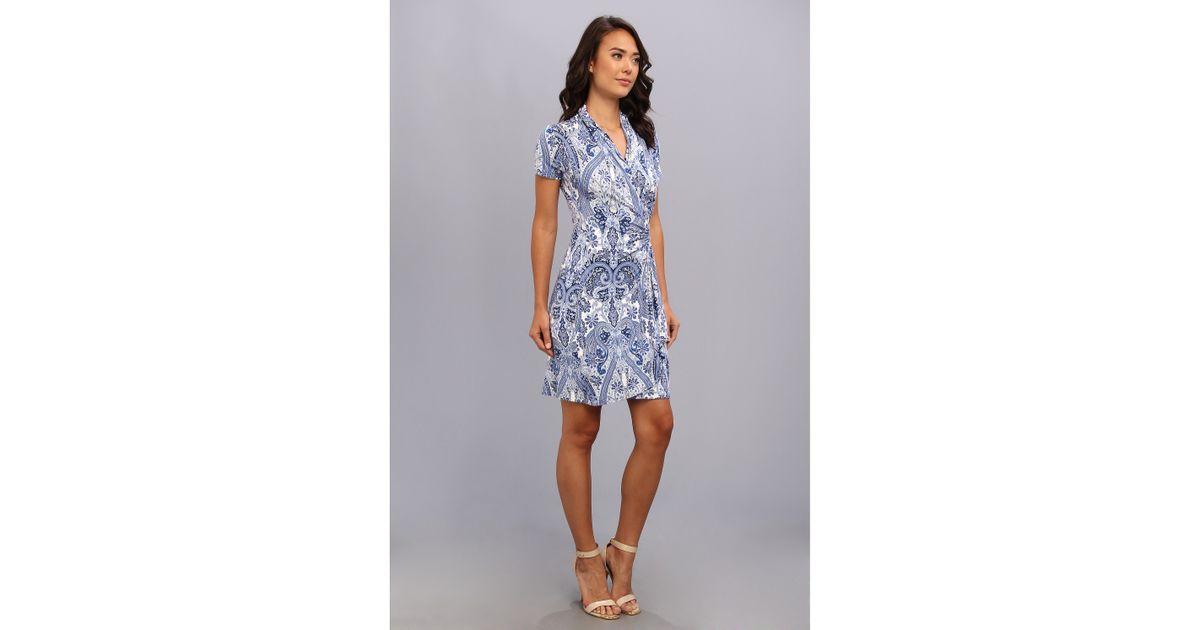 Lyst Karen Kane Paisley Cascade Wrap Dress In Blue