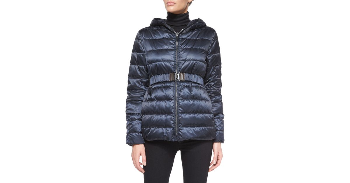 Max mara Reversible Stripe-Quilted Short Down Coat in Blue | Lyst
